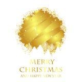 Cartolina di Natale dorata Fotografie Stock Libere da Diritti