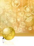 Cartolina di Natale dorata con le bagattelle. ENV 8 Fotografia Stock Libera da Diritti