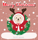 Cartolina di Natale e renna Fotografie Stock Libere da Diritti