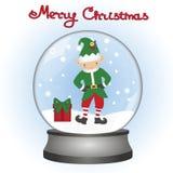 Cartolina di Natale Natale Elf in un globo della neve Un giocattolo fotografie stock