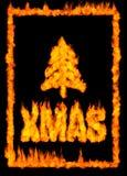 Cartolina di Natale fatta di fuoco Fotografia Stock Libera da Diritti