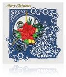 Cartolina di Natale fatta a mano con i saluti e i poins di Buon Natale Fotografia Stock Libera da Diritti
