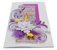Cartolina di Natale fatta a mano con i saluti e i poins di Buon Natale Fotografie Stock Libere da Diritti