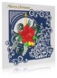 Cartolina di Natale fatta a mano con i saluti e i poins di Buon Natale Fotografia Stock