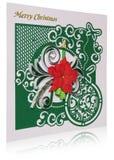 Cartolina di Natale fatta a mano con i saluti e i poins di Buon Natale Immagini Stock