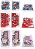 Cartolina di Natale fatta a mano con i saluti e i poins di Buon Natale Fotografie Stock