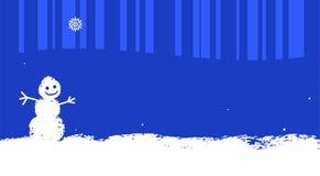 Cartolina di Natale, fondo blu per testo, pupazzo di neve, divertimento Immagine Stock Libera da Diritti