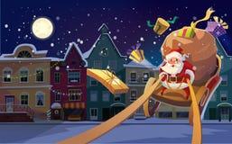 Cartolina di Natale Fondo di Natale con Santa che guida la suoi slitta e presente e regali di elasticità Città di notte di invern illustrazione vettoriale