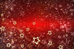 Cartolina di Natale Fondo rosso per la festa Stelle d'oro come struttura su un fondo rosso fotografie stock libere da diritti
