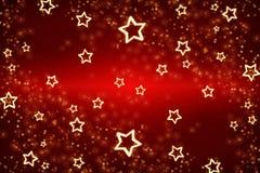 Cartolina di Natale Fondo rosso per la festa Stelle d'oro come struttura su un fondo rosso fotografie stock