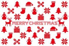 Cartolina di Natale icone nordiche del modello Fotografie Stock Libere da Diritti