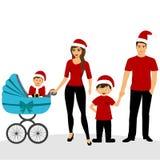 Cartolina di Natale Illustrazione di Natale con la famiglia Foto di famiglia fotografie stock libere da diritti