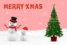 Cartolina di Natale, illustrazione 3D Fotografie Stock Libere da Diritti