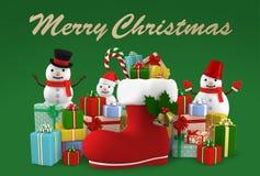 Cartolina di Natale, illustrazione 3D Fotografia Stock Libera da Diritti