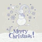 Cartolina di Natale, illustrazione della mano Immagini Stock
