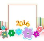 Cartolina di Natale 2016 incorniciata con i fiori messi festa Fotografia Stock