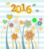 Cartolina di Natale 2016 incorniciata con i fiori messi festa Immagini Stock