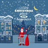 Cartolina di Natale, inverno, il paesaggio urbano, Santa Claus con una borsa dei regali illustrazione vettoriale