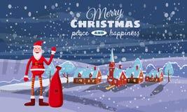 Cartolina di Natale, inverno, il paesaggio urbano, Santa Claus con una borsa dei regali Fotografia Stock Libera da Diritti