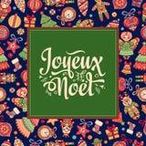 Cartolina di Natale Joyeux Noel Saluti Immagini Stock