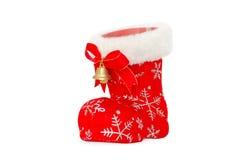 Cartolina di Natale - lo stivale rosso di Santa con tintinnio Immagini Stock