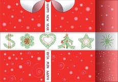 Cartolina di Natale nella forma di regalo Immagini Stock Libere da Diritti