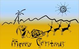 Cartolina di Natale nello stile della caverna Fotografia Stock