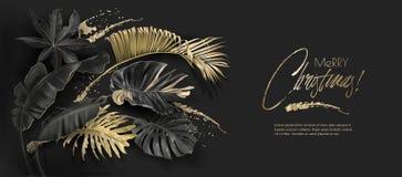 Cartolina di Natale nera di botanica dell'oro delle foglie tropicali illustrazione vettoriale