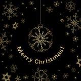 Cartolina di Natale nera con le decorazioni dell'oro Royalty Illustrazione gratis