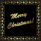 Cartolina di Natale nera quadrata con il blocco per grafici dell'oro Fotografia Stock