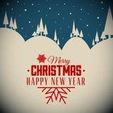 Cartolina di Natale nevosa di retro notte di vettore Fotografia Stock