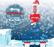 Cartolina di Natale per i lavoratori del gas e del petrolio Immagine Stock