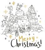 Cartolina di Natale per il disegno di natale Fotografia Stock Libera da Diritti