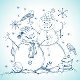 Cartolina di Natale per il disegno di natale con i pupazzi di neve Fotografie Stock