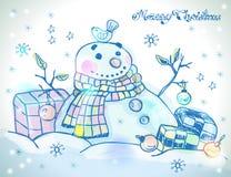 Cartolina di Natale per progettazione di natale con il pupazzo di neve Fotografia Stock Libera da Diritti