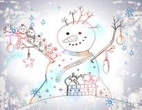 Cartolina di Natale per progettazione di natale con il pupazzo di neve Immagine Stock