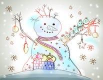 Cartolina di Natale per progettazione di natale con il pupazzo di neve Immagini Stock