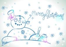 Cartolina di Natale per progettazione di natale con il pupazzo di neve disegnato a mano Fotografie Stock