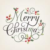 Cartolina di Natale piana di stile di progettazione con le foglie e le bacche dell'agrifoglio Fotografia Stock Libera da Diritti