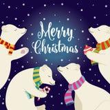 Cartolina di Natale piana sveglia di progettazione con gli orsi polari ed i desideri illustrazione di stock