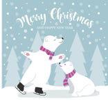 Cartolina di Natale piana sveglia di progettazione con gli orsi polari ed i desideri illustrazione vettoriale
