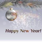 Cartolina di Natale Rami realistici dell'abete e palloni festivi Fotografia Stock Libera da Diritti