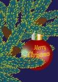 Cartolina di Natale, ramo attillato con i coni e palla di natale, vettore, EPS10 Fotografia Stock Libera da Diritti