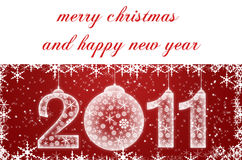 Cartolina di Natale rossa con i fiocchi di neve Immagini Stock