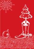 Cartolina di Natale rossa con il caricamento del sistema di cowboy Fotografia Stock