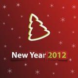 Cartolina di Natale rossa con il nuovo anno 2012 Immagine Stock Libera da Diritti