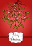 Cartolina di Natale rossa con il ramo del vischio Fotografia Stock