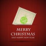 Cartolina di Natale rossa del bollo Immagine Stock