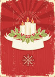 Cartolina di Natale rossa dell'annata per testo Immagine Stock Libera da Diritti
