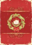 Cartolina di Natale rossa dell'annata per testo Fotografia Stock